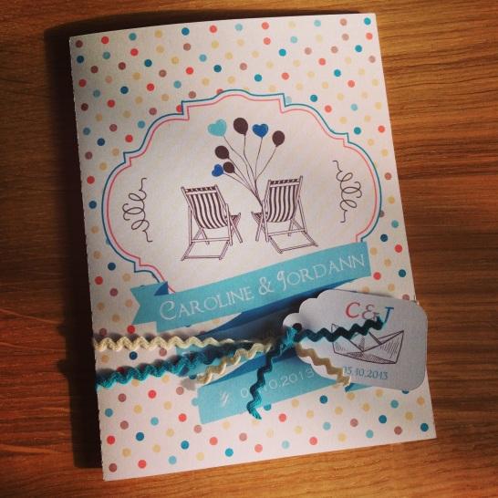 Carte de félicitations pour un mariage sur le thème de la mer