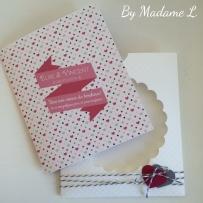 Carte félicitations mariage rose et grise